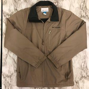 Columbia tan jacket w gray fleece liner, sz S